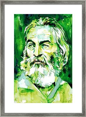 Walt Whitman - Watercolor Portrait.4 Framed Print by Fabrizio Cassetta