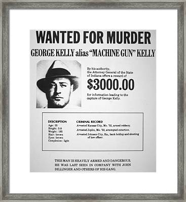 Wanted Poster For Machine Gun Kelly Framed Print by American School