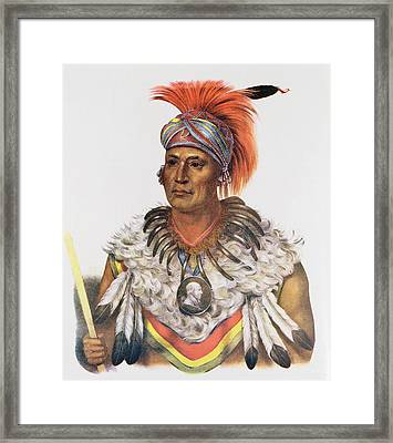 Wapella Or The Prince Chief Of The Foxes, 1837, Illustration From The Indian Tribes Of North Framed Print by Charles Bird King