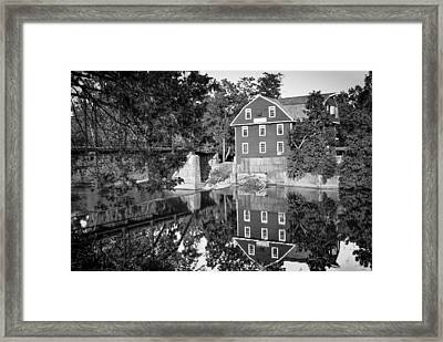 War Eagle Mill And Bridge Black And White Framed Print by Gregory Ballos