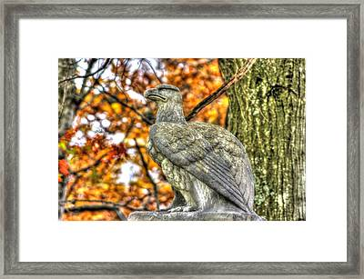 War Eagles - 28th Massachusetts Volunteer Infantry Rose Woods The Wheatfield Fall-a Gettysburg Framed Print by Michael Mazaika
