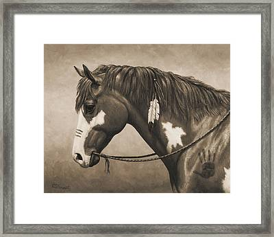 War Horse Aged Photo Fx Framed Print by Crista Forest