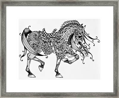 War Horse - Zentangle Framed Print by Jani Freimann