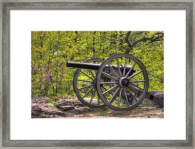 War Thunder - 5th United States Artillery Hazletts Battery - Little Round Top Gettysburg Spring Framed Print by Michael Mazaika