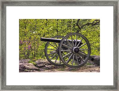 War Thunder - 5th United States Artillery Hazletts Battery - Little Round Top Gettysburg Spring Framed Print by Michael Mazaika