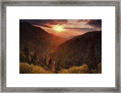Warm Light In The Smokies Framed Print by Andrew Soundarajan
