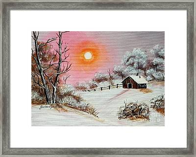 Warm Winter Day After Bob Ross Framed Print by Barbara Griffin