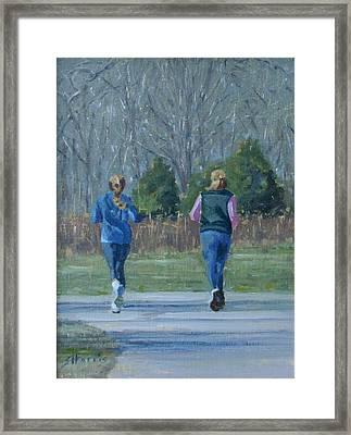 Warner Park Runners Framed Print by Sandra Harris