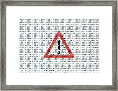 Warning Sign And Binary Code Framed Print by Daniel Sambraus