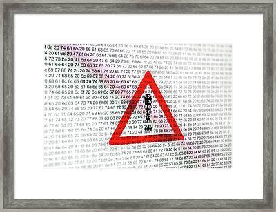 Warning Sign And Hexadecimal Code Framed Print by Daniel Sambraus