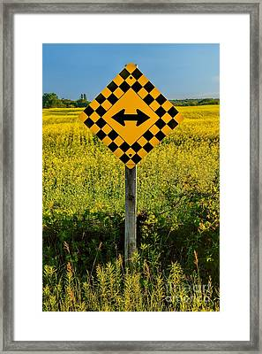 Warning - Yellow On Both Sides Framed Print by Henry Kowalski