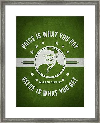 Warren Buffet - Green Framed Print by Aged Pixel