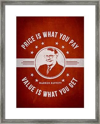 Warren Buffet - Red Framed Print by Aged Pixel
