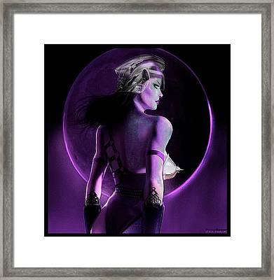 Warrior Goddess Of The Purple Moon Framed Print by Renee Reeser Zelnick
