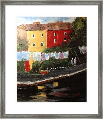 Wash Day On Torcello Island Italy Framed Print by Tina Swindell