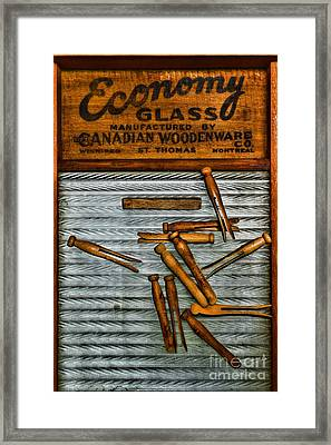 Washboard And Clothes Pins Framed Print by Paul Ward