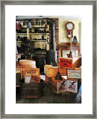 Washboards And Soap Framed Print by Susan Savad