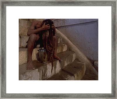 Framed Print featuring the photograph Varanasi Hair Wash by Travel Pics
