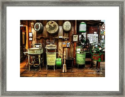 Washing Machines Of Yesteryear Framed Print by Kaye Menner