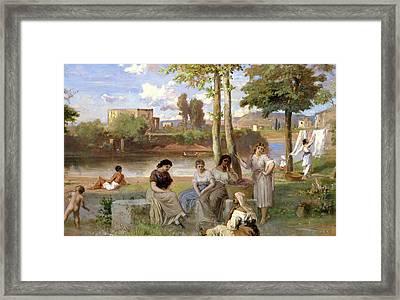 Washing On The Tiber Framed Print by Heinrich Dreber