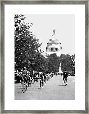 Washington Bicycle Parade Framed Print by Underwood Archives