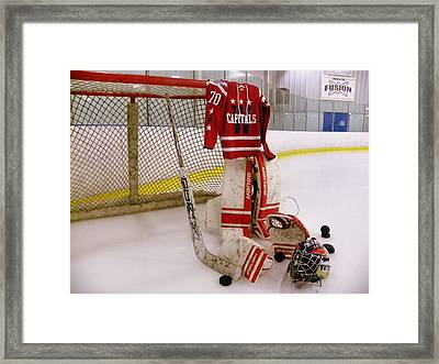 Washington Capitals Braden Holtby Winter Classic 2015 Jersey Framed Print by Lisa Wooten