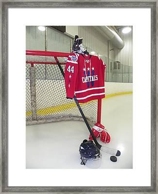Washington Capitals Brooks Orpik Winter Classic 2015 Jersey Framed Print by Lisa Wooten