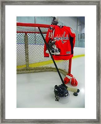 Washington Capitals Nicklas Backstrom Home Hockey Jersey Framed Print by Lisa Wooten