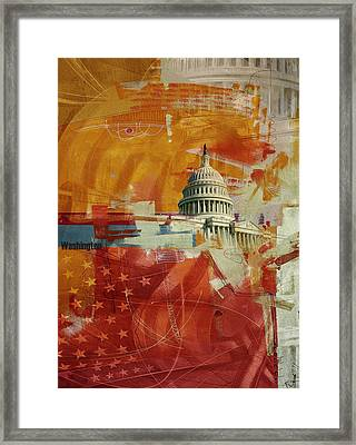 Washington City Collage 4 Framed Print by Corporate Art Task Force