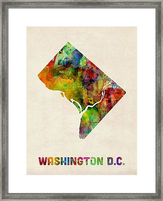 Washington Dc District Of Columbia Watercolor Map Framed Print by Michael Tompsett