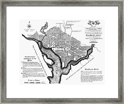 Washington, D.c. Plan, 1792 Framed Print by Granger