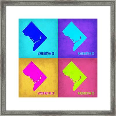 Washington Dc Pop Art Map 1 Framed Print by Naxart Studio