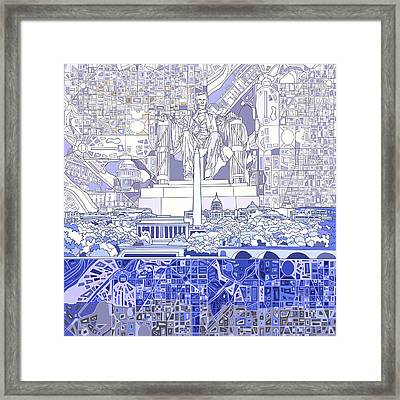 Washington Dc Skyline Abstract 3 Framed Print by Bekim Art