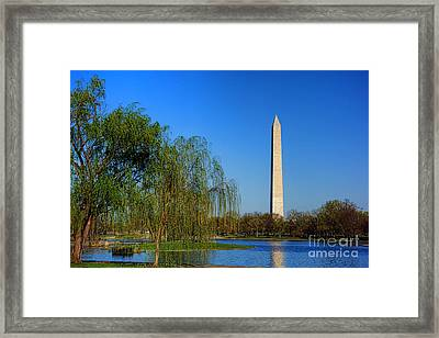 Washington Monument From Constitution Gardens Pond Framed Print by Olivier Le Queinec