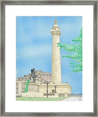 Washington Monument In Baltimore Framed Print by Calvert Koerber
