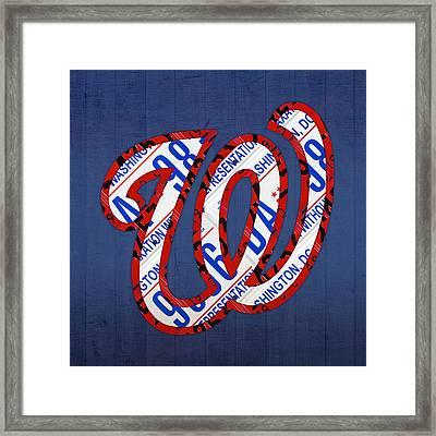 Washington Nationals Vintage Baseball Logo License Plate Art Framed Print by Design Turnpike