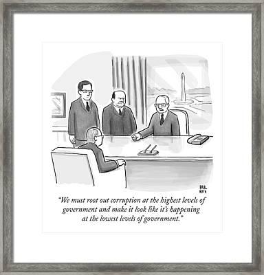 Washington Politicians Speak Around A Desk Framed Print by Paul Noth