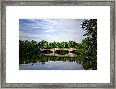Washington Road Bridge Over Lake Carnegie Princeton Framed Print by Bill Cannon