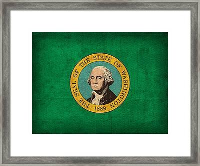Washington State Flag Art On Worn Canvas Framed Print by Design Turnpike