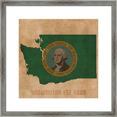 Washington State Flag Map Outline With Founding Date On Worn Parchment Background Framed Print by Design Turnpike
