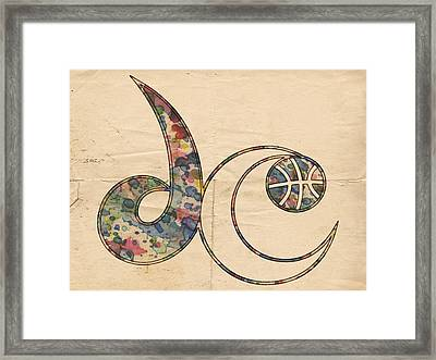 Washington Wizards Logo Vintage Framed Print by Florian Rodarte