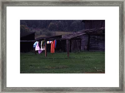 Washline On The Upper Peninsula Framed Print by Wayne King