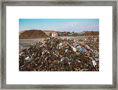 Waste At Composting Recycling Facility Framed Print by Peter Menzel