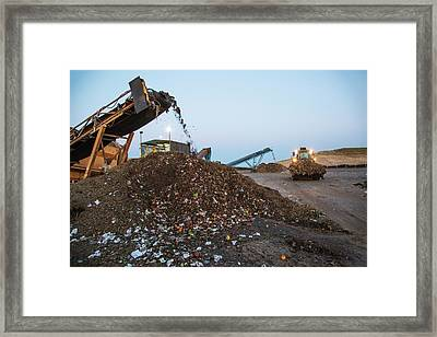 Waste Sorting At Composting Facility Framed Print by Peter Menzel