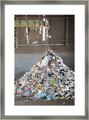 Waste Stream At A Recycling Centre Framed Print by Peter Menzel