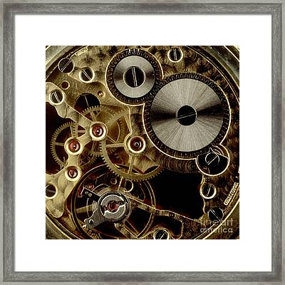 Watch Mechanism. Close-up Framed Print by Bernard Jaubert