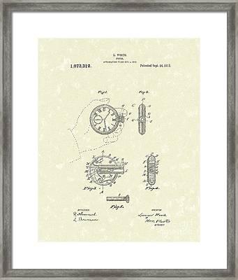 Watch Pistol 1913 Patent Art Framed Print by Prior Art Design