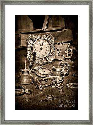 Watch Repair In Black And White Framed Print by Paul Ward
