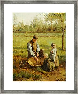 Watching Father Work Framed Print by Albert Neuhuys