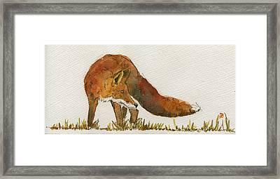 Watching Red Fox Framed Print by Juan  Bosco